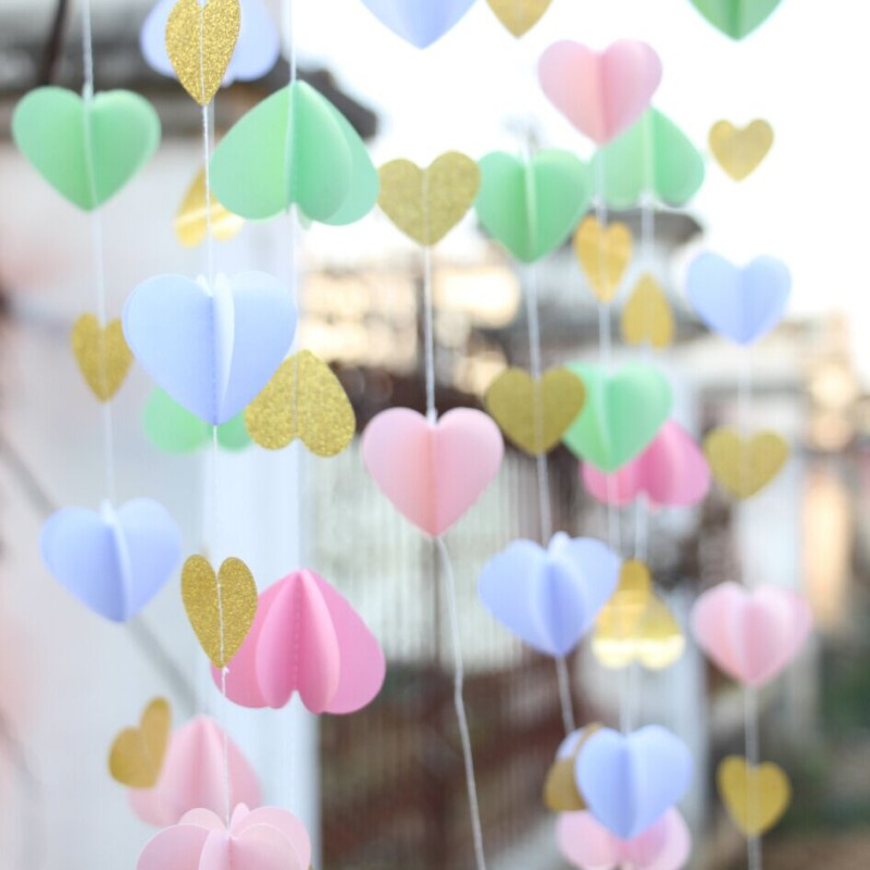 Pink-Gold-Paper-heart-garland-DIY-Wedding-Curtain-Curtain-Backdrop-Wedding-Reception-Decor